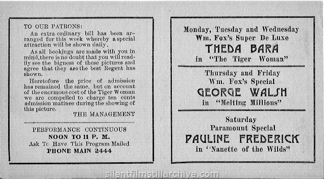 Albany Regent Theatre program