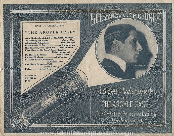 Advertising herald for THE ARGYLE CASE (1917) with Robert Warwick