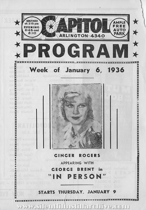Arlington Capitol Theater program from January 6, 1936