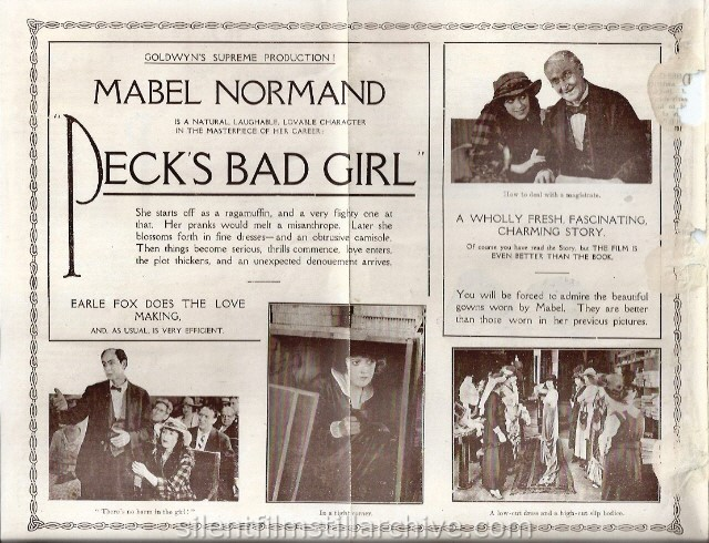 Strand Theatre program, Auckland, New Zealand, featuring Mabel Normand in PECKS BAD GIRL (1918).
