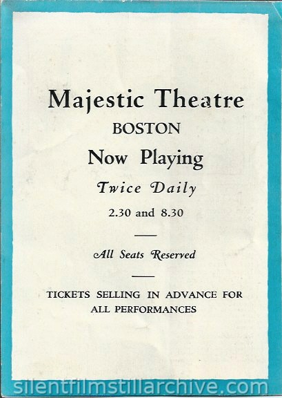 THE BIG PARADE (1925) herald from the Majestic Theatre in Boston, Massachusetts.