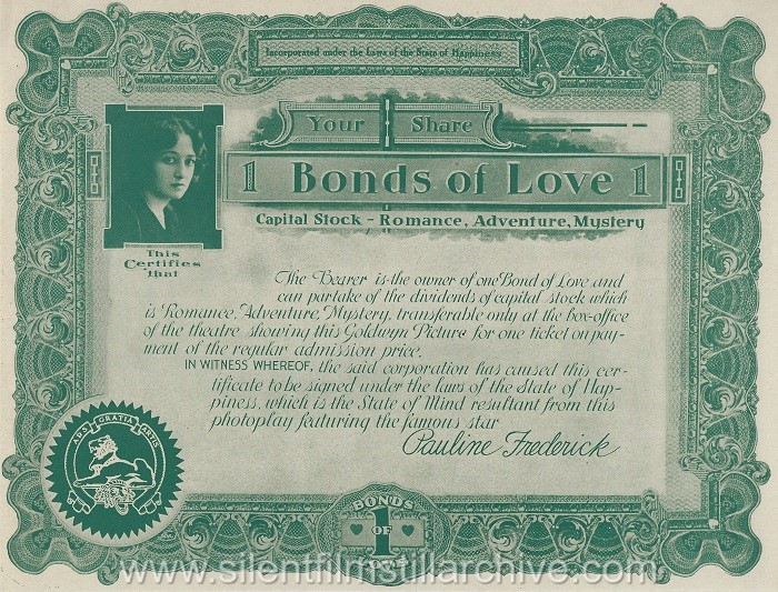 "Advertising ""bond"" for BONDS OF LOVE (1919) with Pauline Frederick"