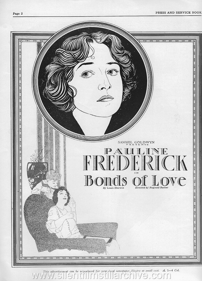 Pressbook for BONDS OF LOVE (1919) with Pauline Frederick