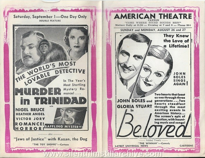 American Theatre program, August 26, 1934, Canton, New York, featuring HOLLYWOOD PARTY
