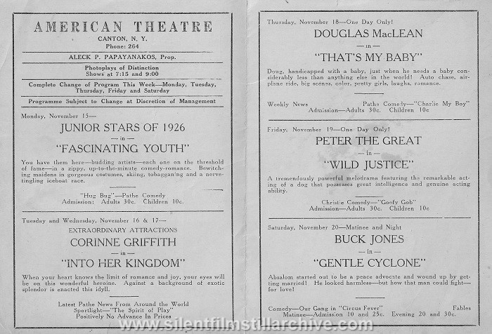 American Theatre program, November 15, 1926, Canton, New York