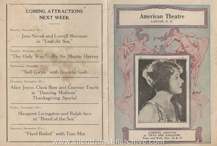 Corinne Griffith on the American Theatre program, June 14, 1926, Canton, New York