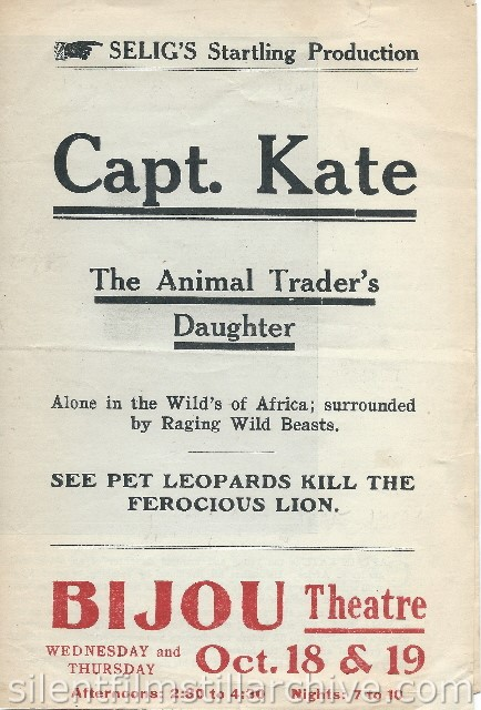 Advertising herald for CAPTAIN KATE, THE ANIMAL TRADER'S DAUGHTER (1911)