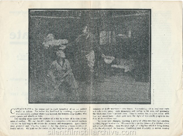 Advertising herald for CAPTAIN KATE, THE ANIMAL TRADER'S DAUGHTER (1911) with Kathlyn Williams