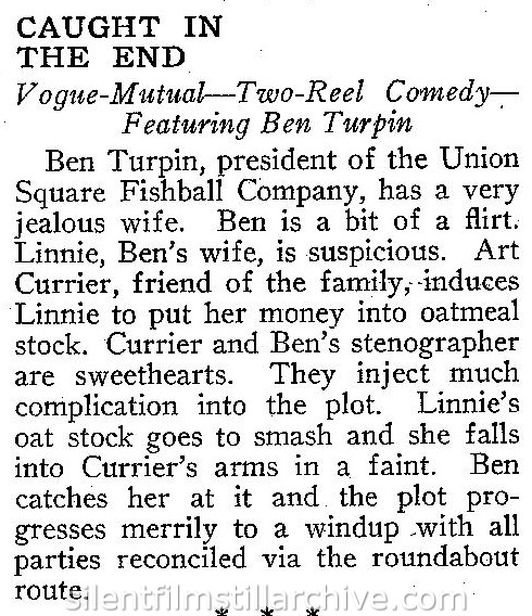 Ben Turpin in CAUGHT IN THE END (1917) review