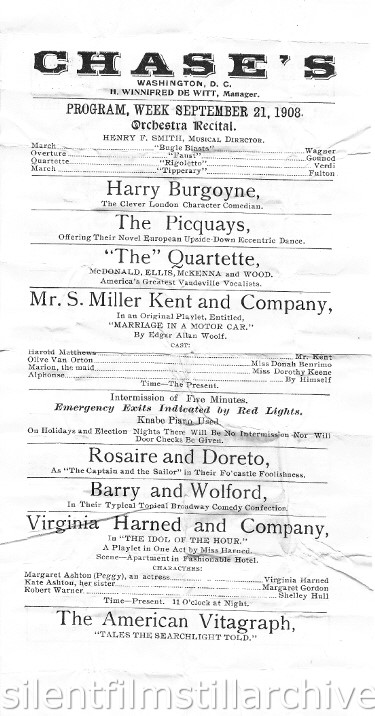 Chase's Vaudeville Washington D.C. Program 1908