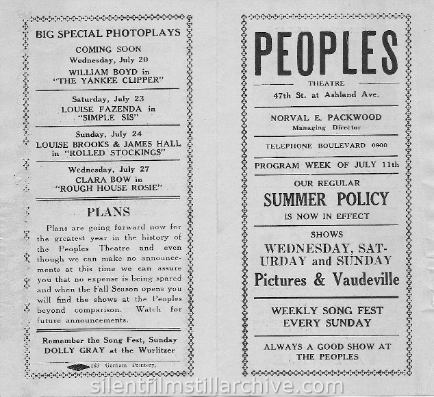 Peoples Theatre program, July 11, 1927, Chicago, Illinois