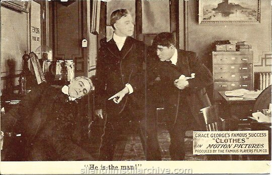 Postcard for CLOTHES (1914) with House Peters.
