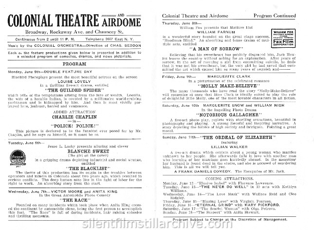 Brooklyn, NY Colonial Theatre and Airdome program