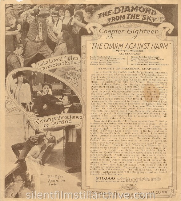 THE DIAMOND FROM THE SKY (1915) herald with Irving Cummings and Lottie Pickford