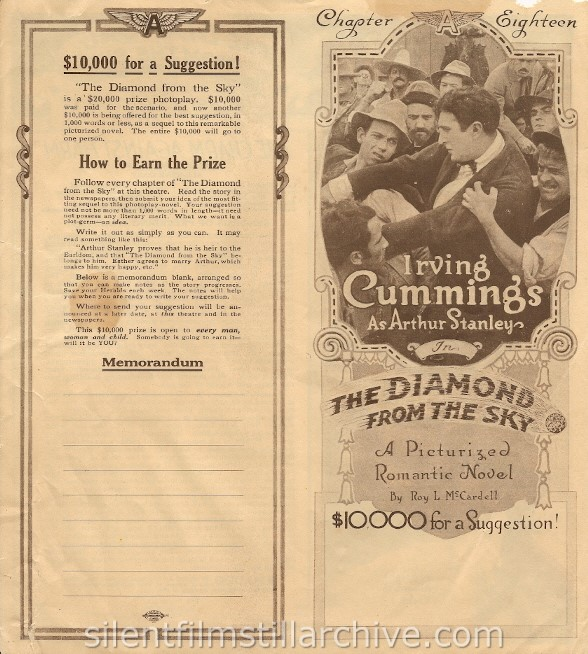 THE DIAMOND FROM THE SKY (1915) herald with Irving Cummings