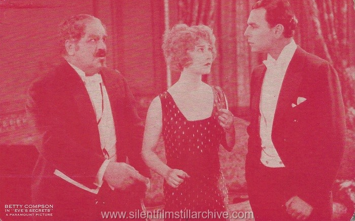 Postcard with Lionel Belmore, Betty Compson and William Collier, Jr. in EVE'S SECRET