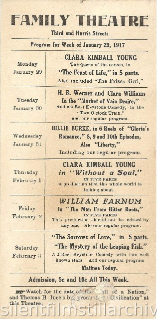 Family Theatre, possibly in Harrisburg, Pennsylvania, program for the week of January 29, 1917.
