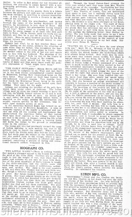 Film Index, November 5, 1910 synopsis of the Biograph film WAITER, NO. 5