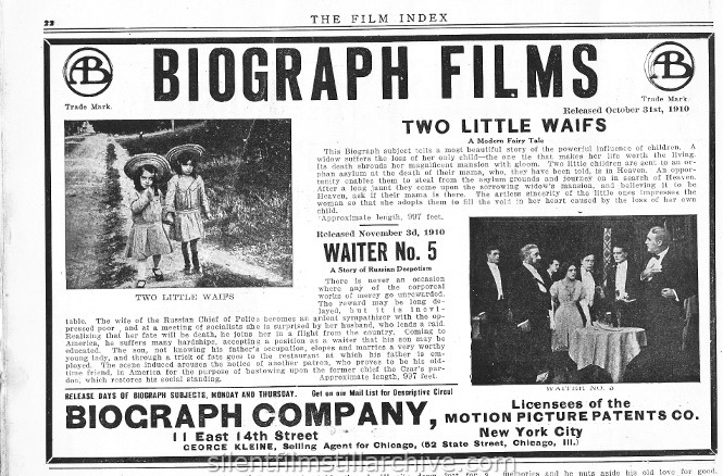 Film Index, November 5, 1910 ad for the Biograph film WAITER, NO. 5