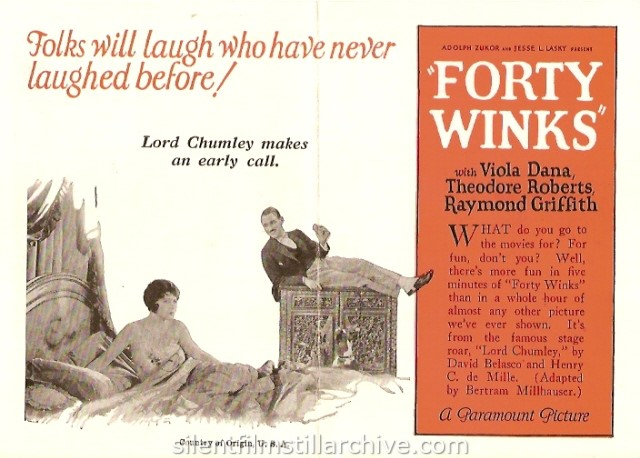 Advertising herald for FORTY WINKS (1925) with Raymond Griffith and Viola Dana.