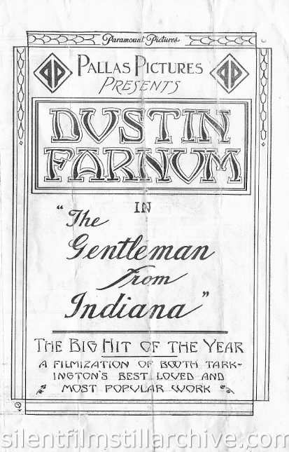 Dustin Farnum in THE GENTLEMAN FROM INDIANA (1915) movie herald