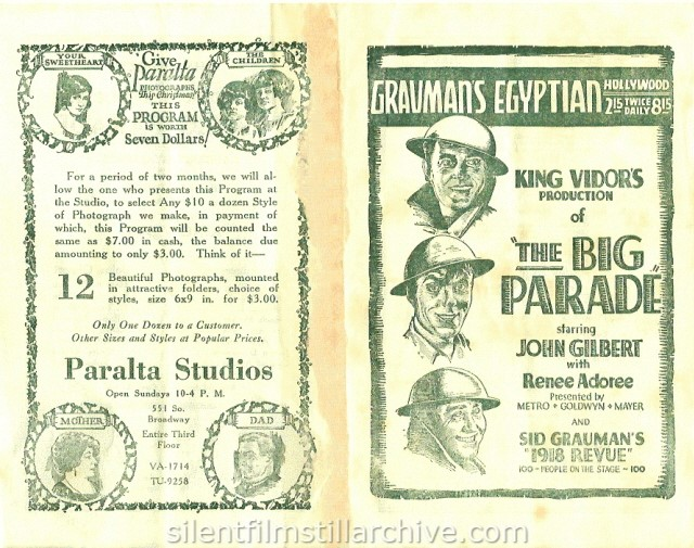 Grauman's Egyptian program for THE BIG PARADE (1925)