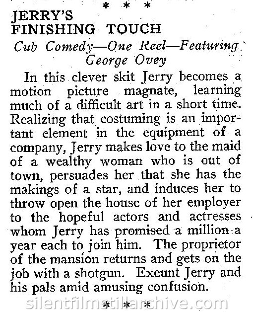 JERRY'S FINISHING TOUCH (1917) synopsis