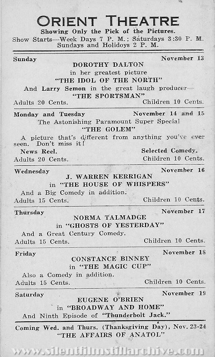 Oriental Theatre program, November 13, 1921, Jersey City, New Jersey