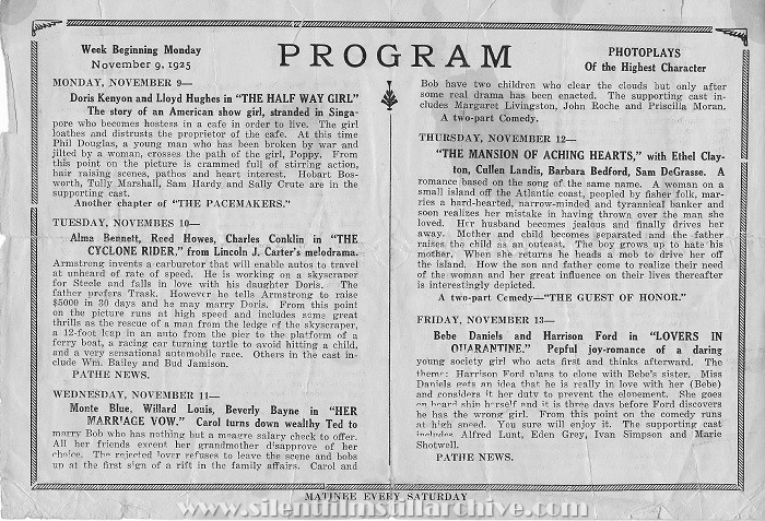 Lake Placid, New York, Happy Hour Theatre program from November 9, 1925