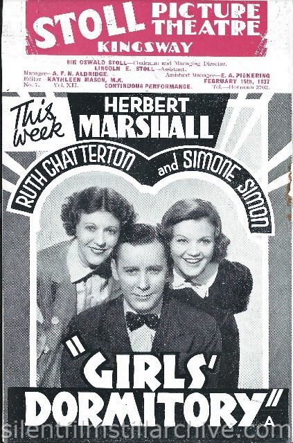 London Stoll Picture Theatre Kingsway, February 15th, 1937 program for GIRLS DORMITORY (1936) with Herbert Marshall, Ruth Chatterton and Simone Simon