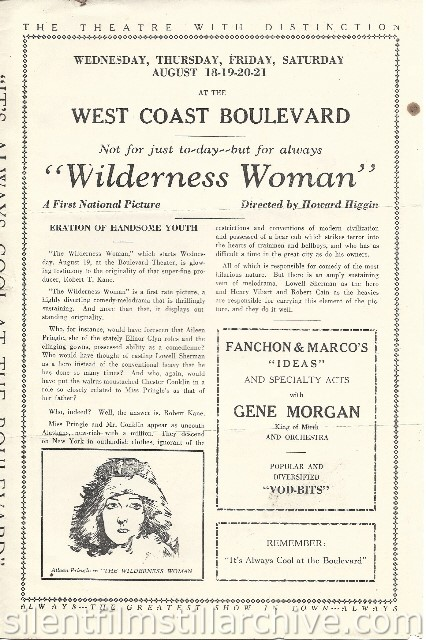 Los Angeles Boulevard Theatre program featuring THE WILDERNESS WOMAN (1926) with Aileen Pringle
