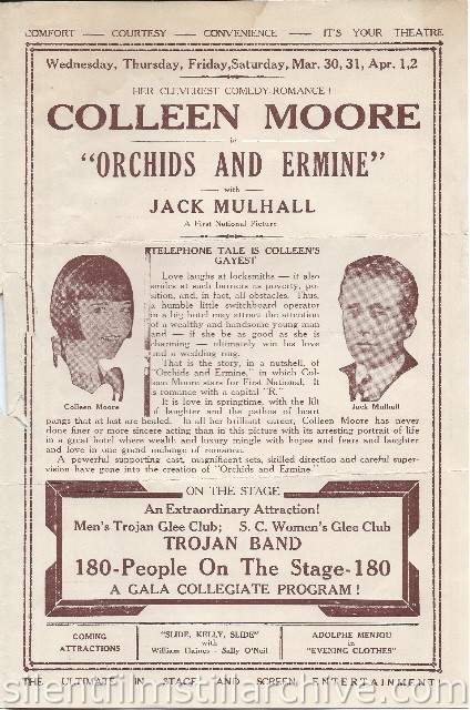 Los Angeles Boulevard Theatre program featuring ORCHIDS AND ERMINE (1927) with Colleen Moore and Jack Mulhall