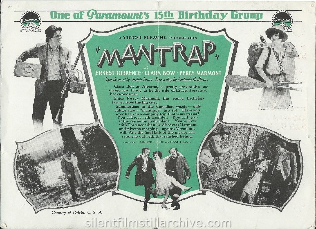 Advertising herald for Clara Bow in MANTRAP (1926)