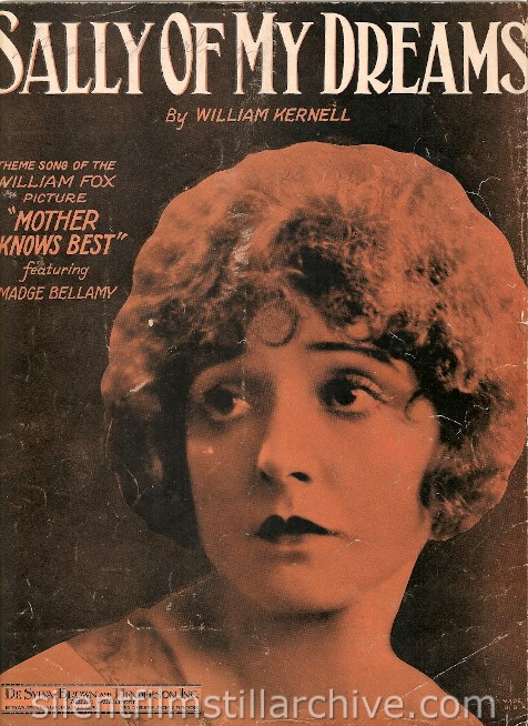 Madge Bellamy Mother Knows Best (1920) sheet music