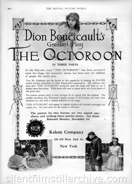 Moving Picture World advertisement for THE OCTOROON (1913) with Guy Coombs and Marguerite Cortot
