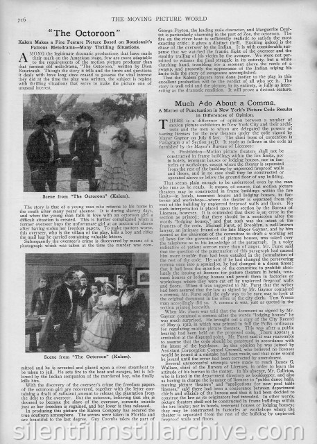 Moving Picture World article on THE OCTOROON (1913)
