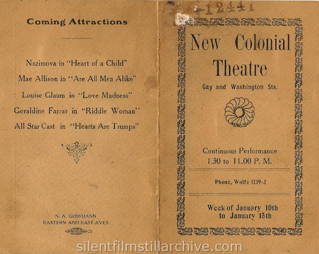 New Colonial Theatre program, January 1920