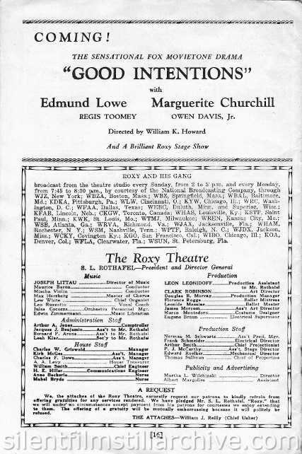 Roxy Theatre program