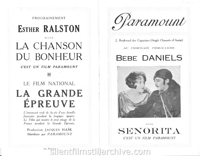 Paramount Paris Theatre program