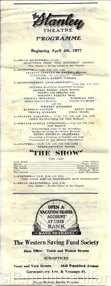 Stanley Theatre program, Philadelphia, Pennsylvania, USA