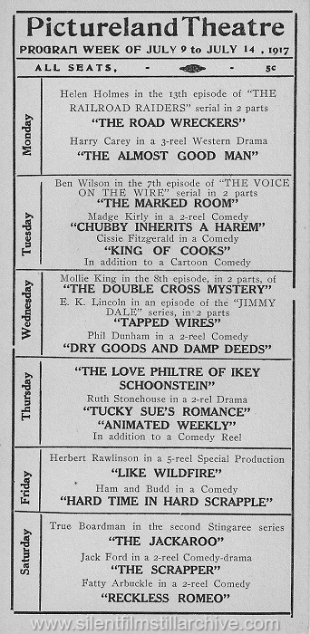 Pictureland Theatre program, July 9, 1917