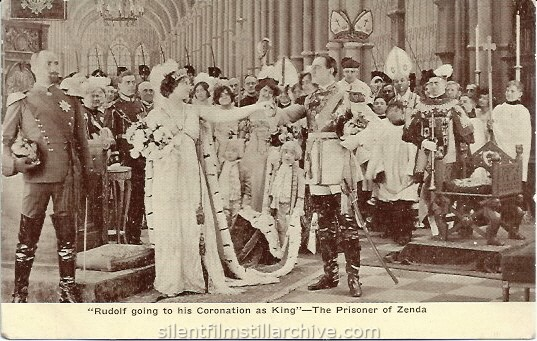 Postcard for THE PRISONER OF ZENDA (1913) with James K. Hackett and Beatrice Beckley