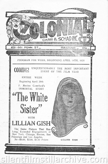 Reading, Pennsylvania Colonial Theater program for the week of April 14th, 1924