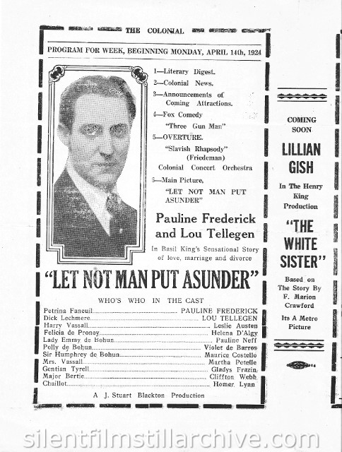Reading, Pennsylvania Colonial Theater program for the week of April 14th, 1924, showing LET NOT MAN PUT ASUNDER WITH Pauline Frederick and Lou Tellegen