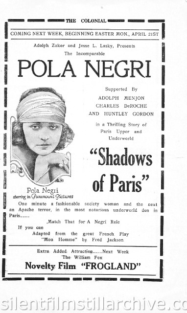 Reading, Pennsylvania Colonial Theater program for the week of April 14th, 1924, showing SHADOWS OF PARIS with Pola Negri