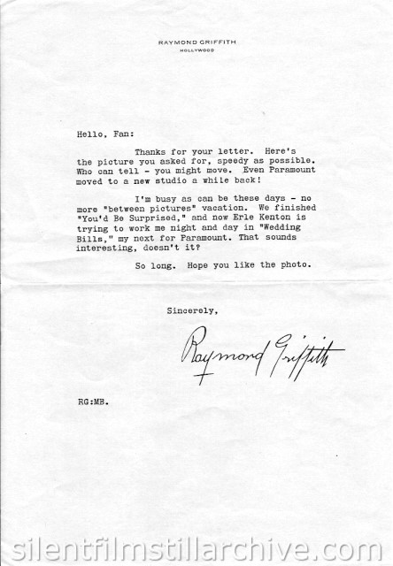 Fan form letter from Raymond Griffith