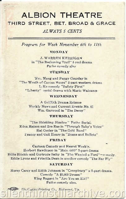 Albion Theatre in Richmond, Virginia program for the week of November 6, 1916.