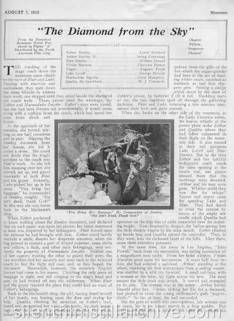 THE DIAMOND FROM THE SKY (1915) synopsis from Reel Life magazine, August 7, 1915