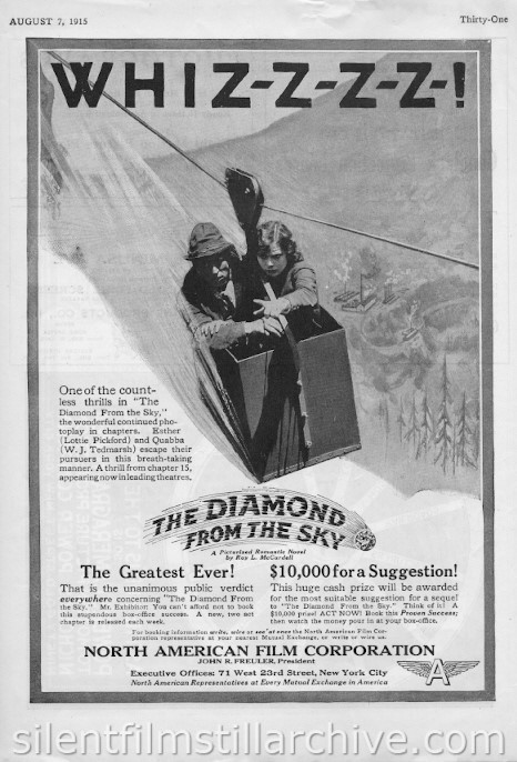 Lottie Pickford in THE DIAMOND FROM THE SKY (1915) ad from Reel Life magaine, August 7, 1915