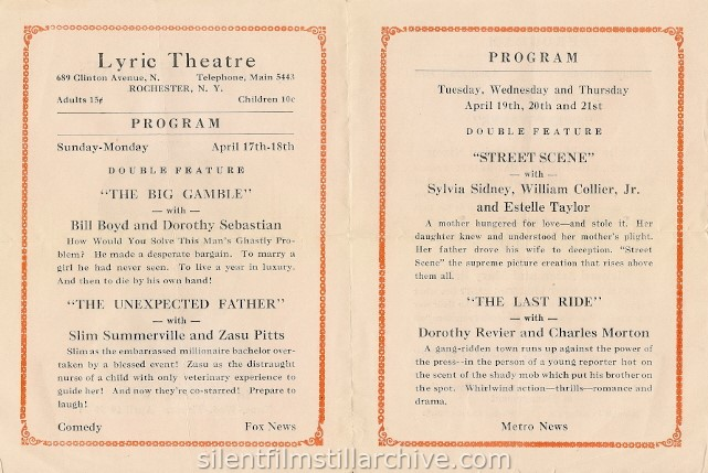 Rochester, New York Lyric Theatre program, April 17, 1032